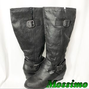 Mossimo Black Fabric Riding Knee hi wedge boot 11